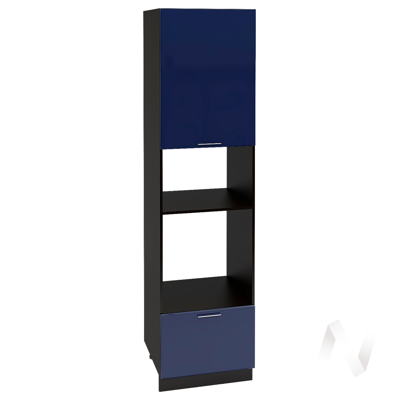 "Кухня ""Валерия-М"": Шкаф пенал 606, ШП 606НМ (Синий глянец/корпус венге)"