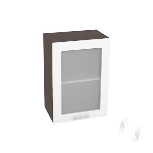 """Кухня """"Валерия-М"""": Шкаф верхний со стеклом 500, ШВС 500 (белый глянец/корпус венге)"""