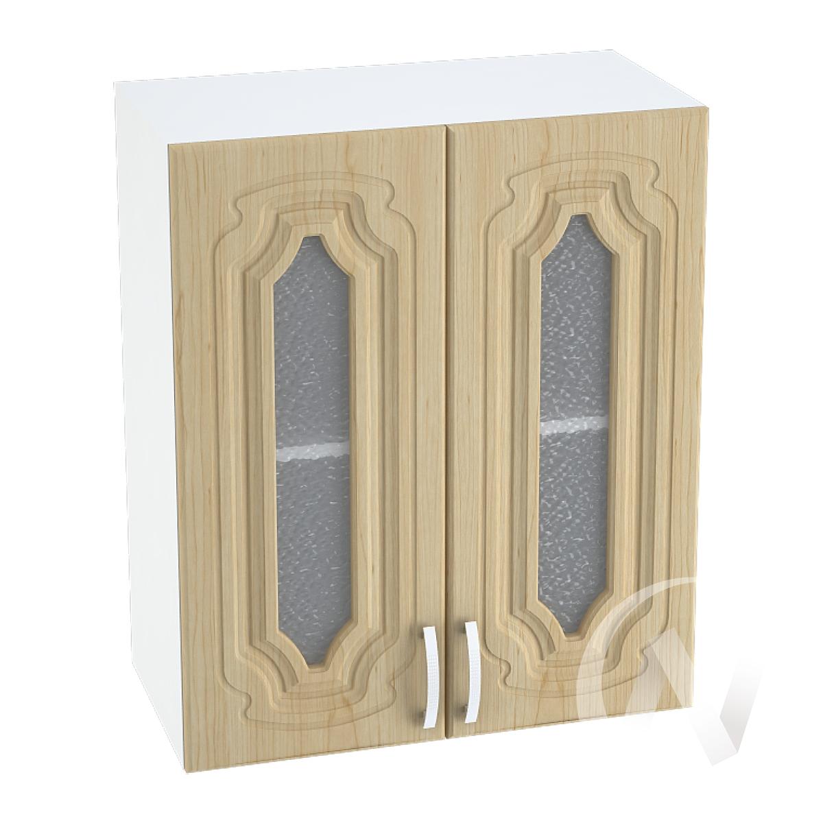 """Кухня """"Настя"""": Шкаф верхний со стеклом 600, ШВС 600 новый (Береза/корпус белый)"""