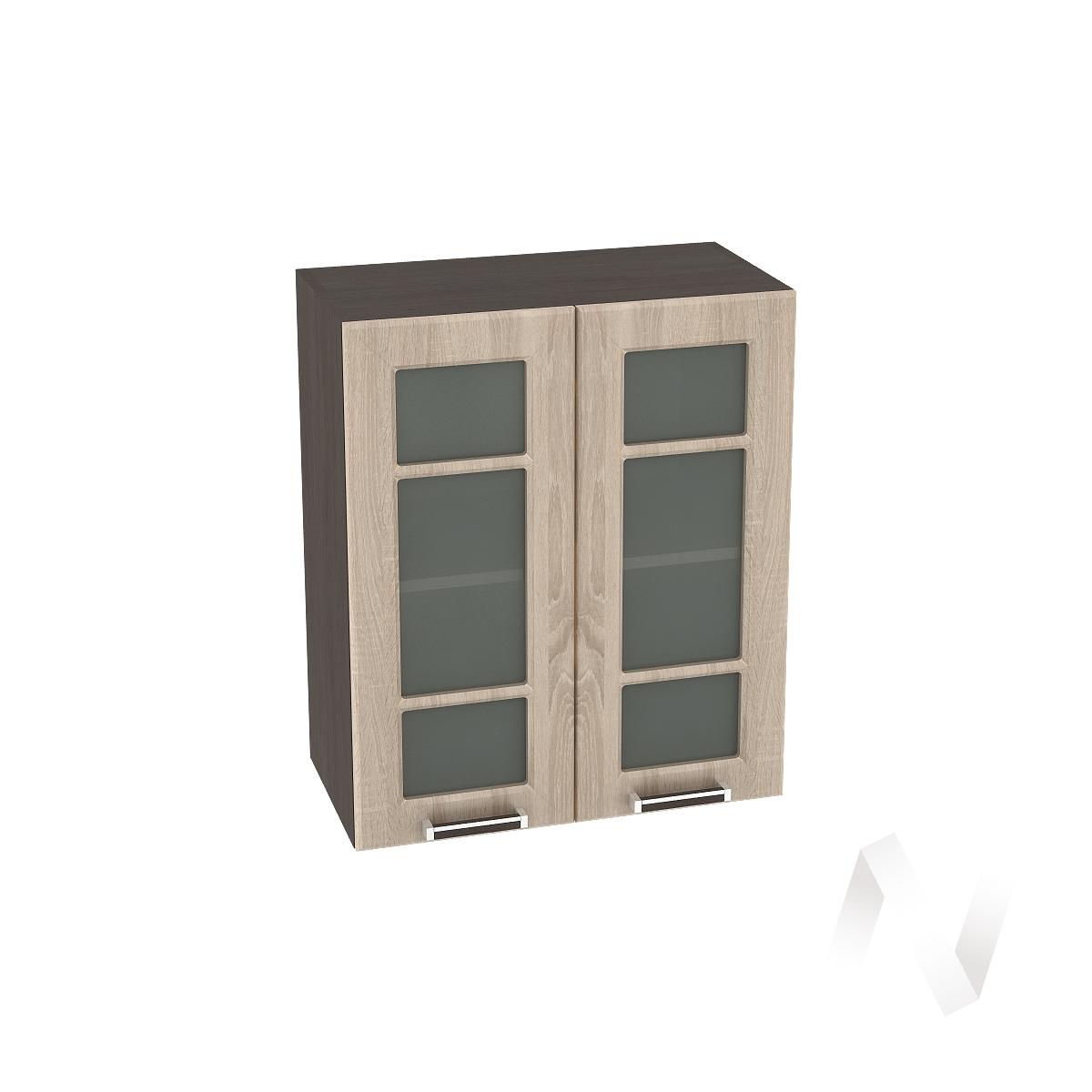 """Кухня """"Прага"""": Шкаф верхний со стеклом 600, ШВС 600 новый (дуб сонома/корпус венге)"""