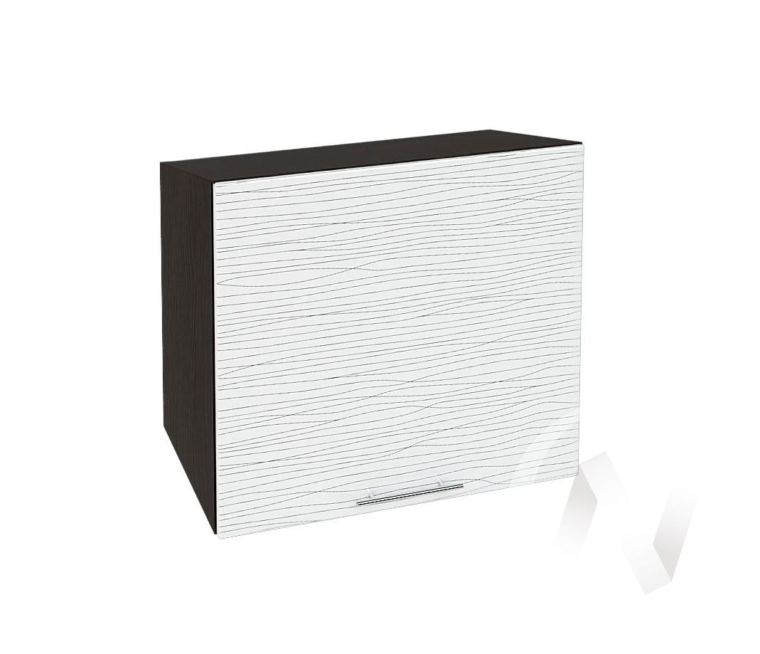 """Кухня """"Валерия-М"""": Шкаф верхний горизонтальный 509, ШВГ 509 (Страйп белый/корпус венге)"""