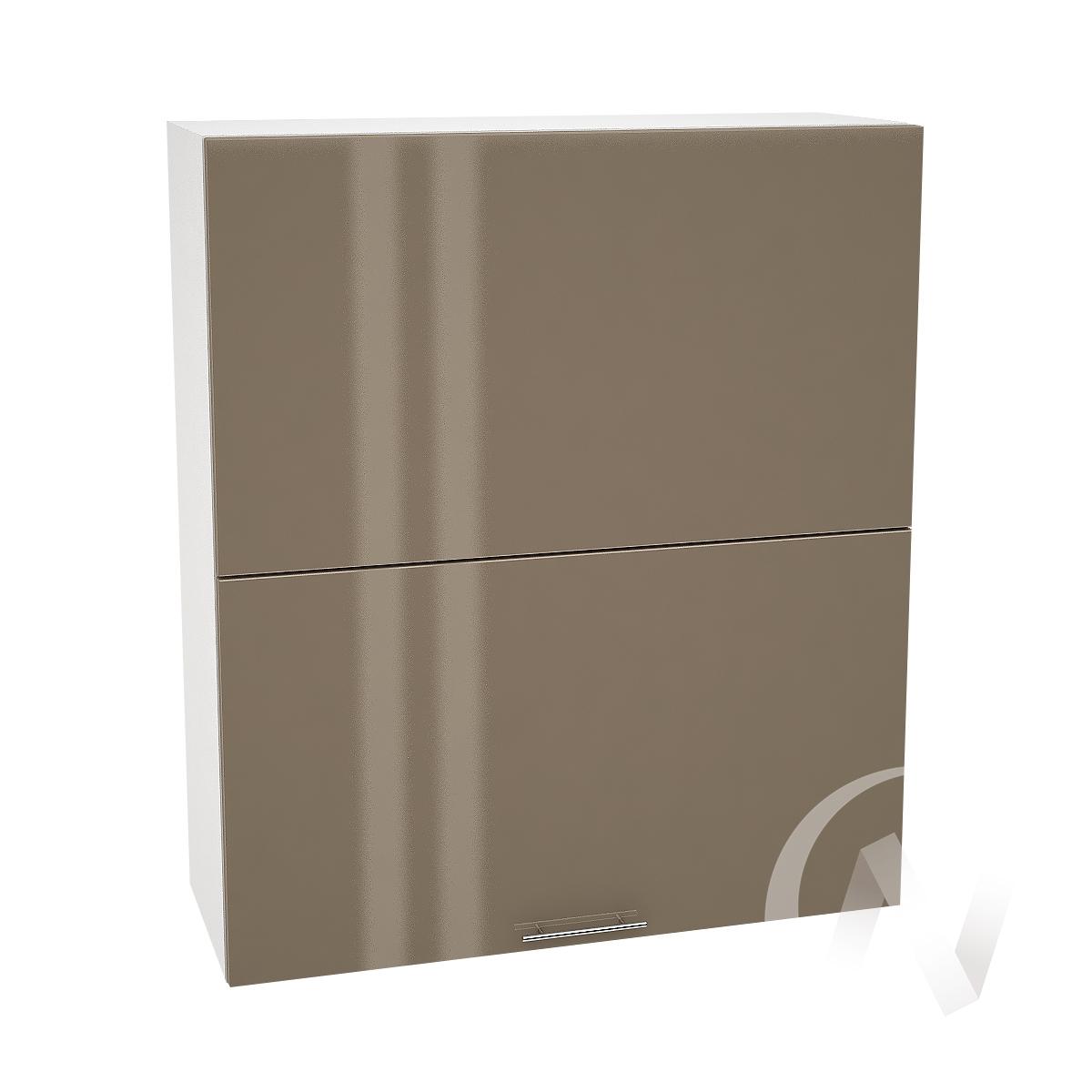 """Кухня """"Валерия-М"""": Шкаф верхний горизонтальный 802, ШВГ 802 (Капучино глянец/корпус белый)"""