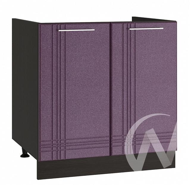 """Кухня """"Струна"""": Шкаф нижний под мойку 800, ШНМ 800 новый (фиолетовый металлик/корпус венге)"""