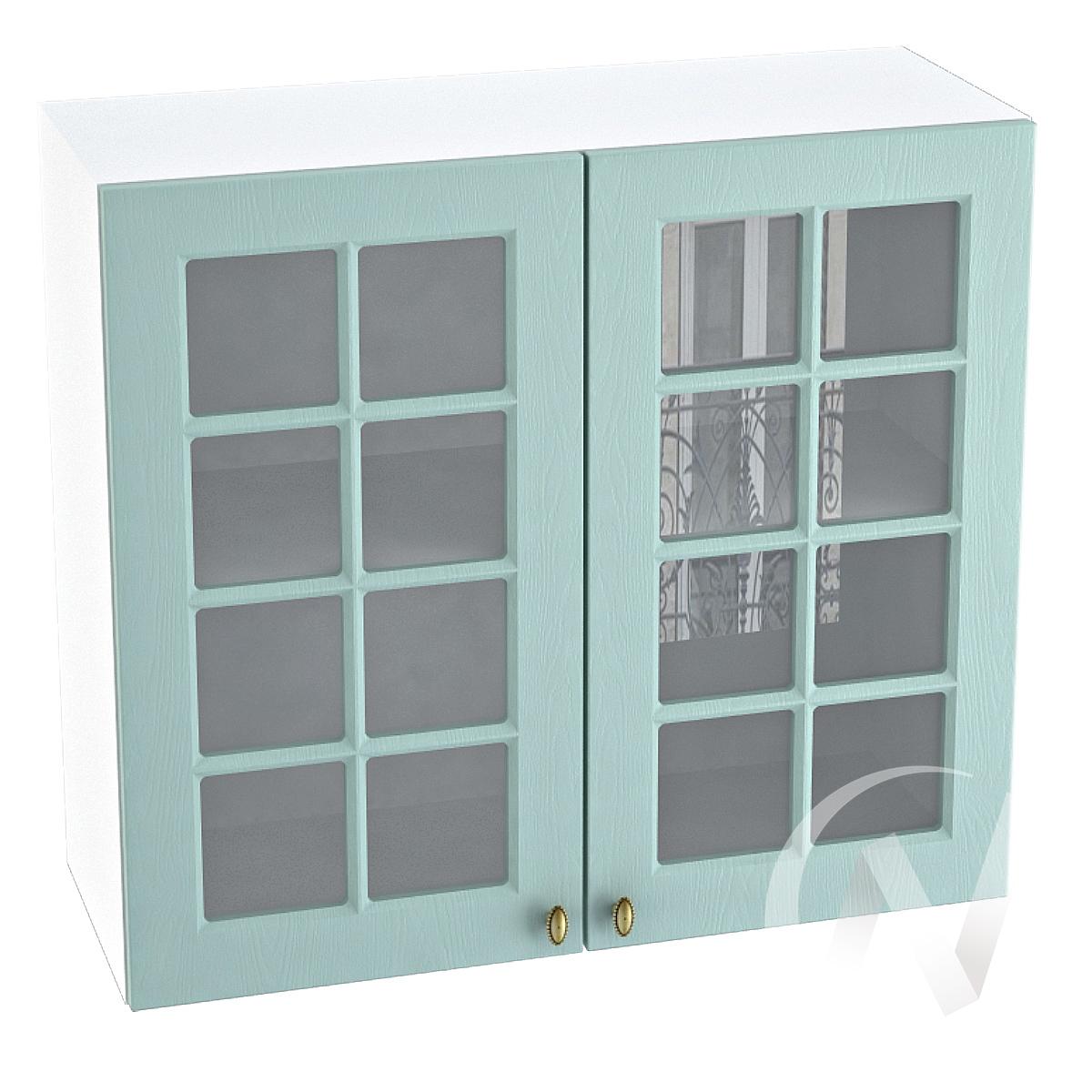 """Кухня """"Прованс"""": Шкаф верхний со стеклом 800, ШВС 800 новый (голубой/корпус белый)"""