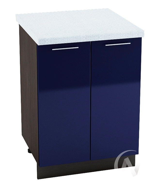 "Кухня ""Валерия-М"": Шкаф нижний 600, ШН 600 новый (Синий глянец/корпус венге)"