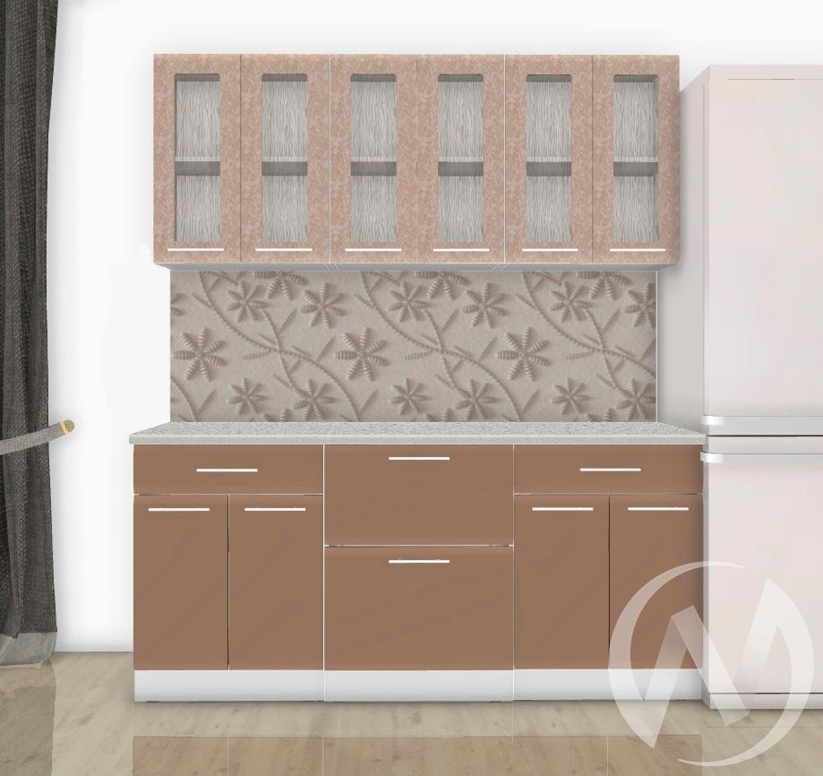 Кухня Люкс гобелен шампань/ шоколад матовый 1,8 №1  в Новосибирске - интернет магазин Мебельный Проспект