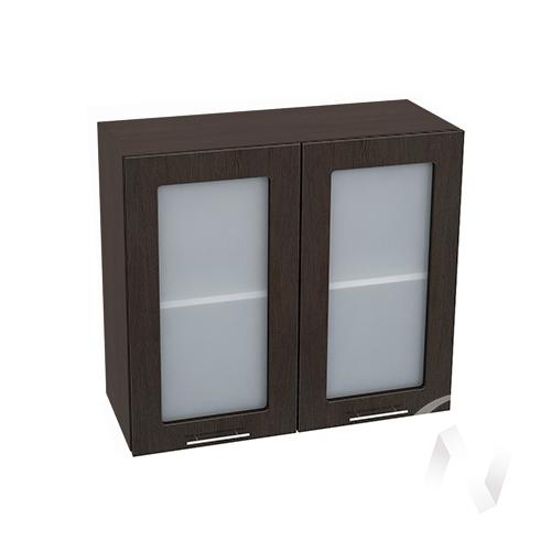 """Кухня """"Валерия-М"""": Шкаф верхний со стеклом 800, ШВС 800 новый (венге/корпус венге)"""