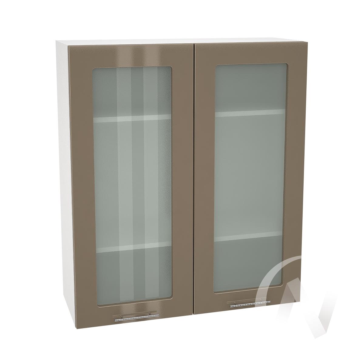 """Кухня """"Валерия-М"""": Шкаф верхний со стеклом 809, ШВС 809 (Капучино глянец/корпус белый)"""