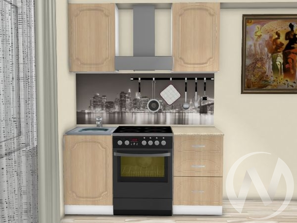 "Кухня ""Настя"" 1.0м (Береза/корпус белый) корпусно-фасадная"