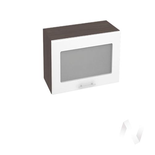 """Кухня """"Валерия-М"""": Шкаф верхний горизонтальный со стеклом 609, ШВГС 609 (белый глянец/корпус венге)"""