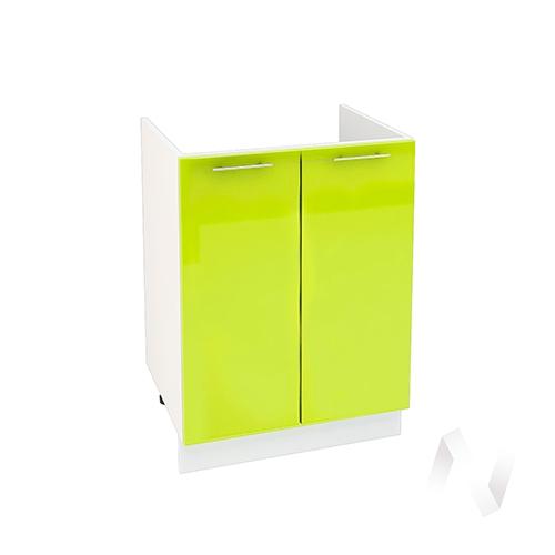 "Кухня ""Валерия-М"": Шкаф нижний под мойку 600, ШНМ 600 новый (лайм глянец/корпус белый)"