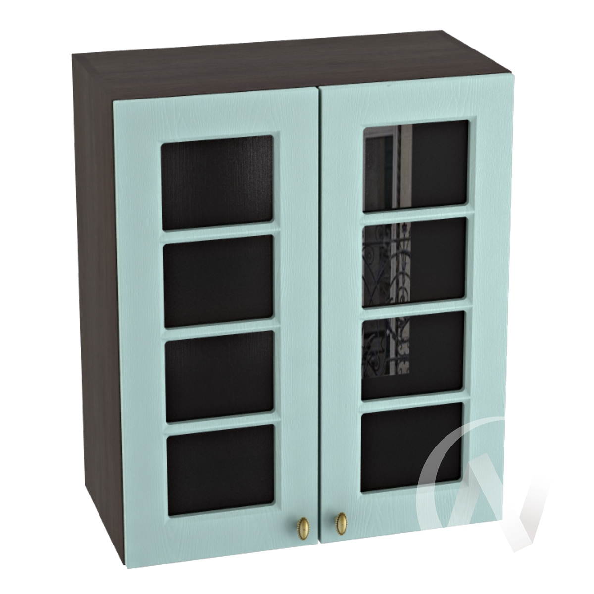 """Кухня """"Прованс"""": Шкаф верхний со стеклом 600, ШВС 600 новый (голубой/корпус венге)"""