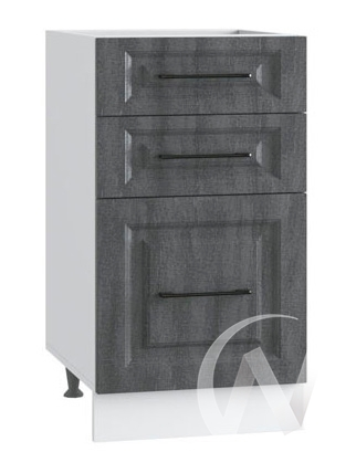 "Кухня ""Либерти"": Шкаф нижний с 3-мя ящиками 400, ШН3Я 400 (Холст грей/корпус белый)"