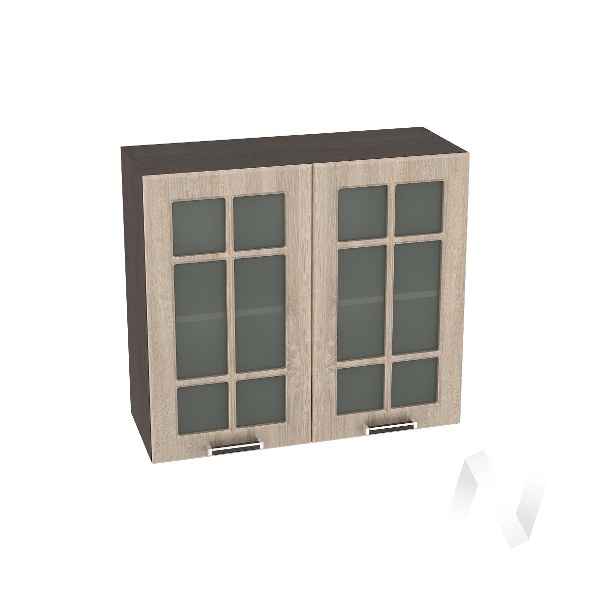 """Кухня """"Прага"""": Шкаф верхний со стеклом 800, ШВС 800 новый (дуб сонома/корпус венге)"""