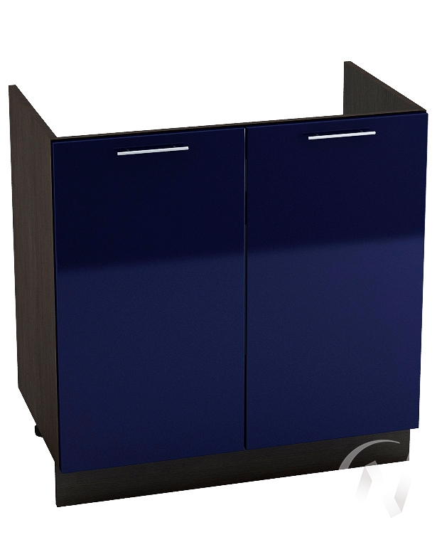 "Кухня ""Валерия-М"": Шкаф нижний под мойку 800, ШНМ 800 новый (Синий глянец/корпус венге)"