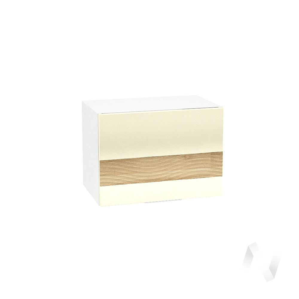 """Кухня """"Терра"""": Шкаф верхний горизонтальный 500, ШВГ 500 (ваниль софт/ель карпатская/корпус белый)"""