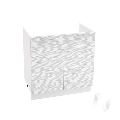 "Кухня ""Валерия-М"": Шкаф нижний под мойку 800, ШНМ 800 (Страйп белый/корпус белый)"