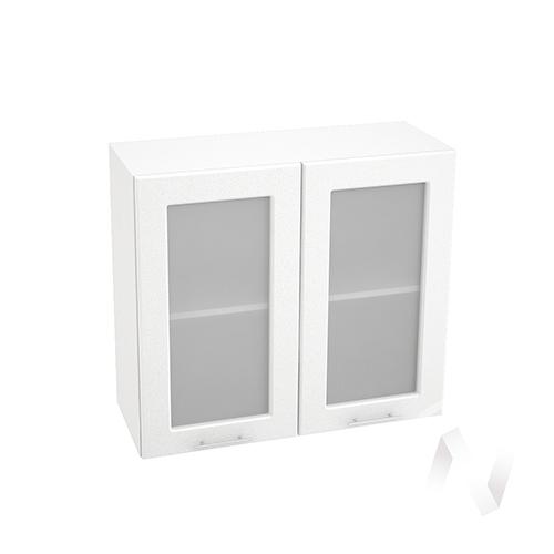 """Кухня """"Вега"""": Шкаф верхний со стеклом 800, ШВС 800 новый (белый металлик/корпус белый)"""