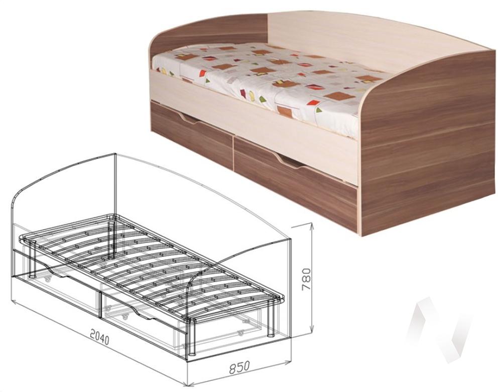 Евро М16 Кровать с ящиками 800*2000  (бодега бежевый - ясень шимо темный)