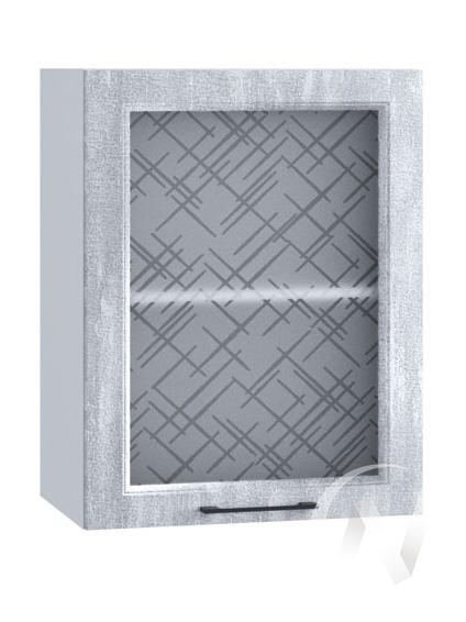 """Кухня """"Либерти"""": Шкаф верхний со стеклом 500, ШВС 500 (Холст натуральный/корпус белый)"""
