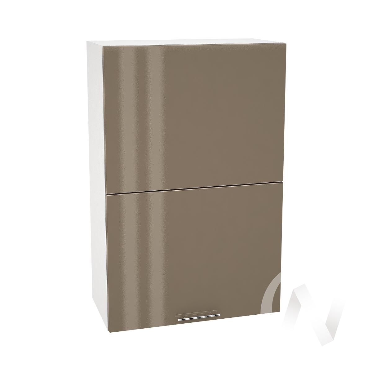 """Кухня """"Валерия-М"""": Шкаф верхний горизонтальный 602, ШВГ 602 (Капучино глянец/корпус белый)"""