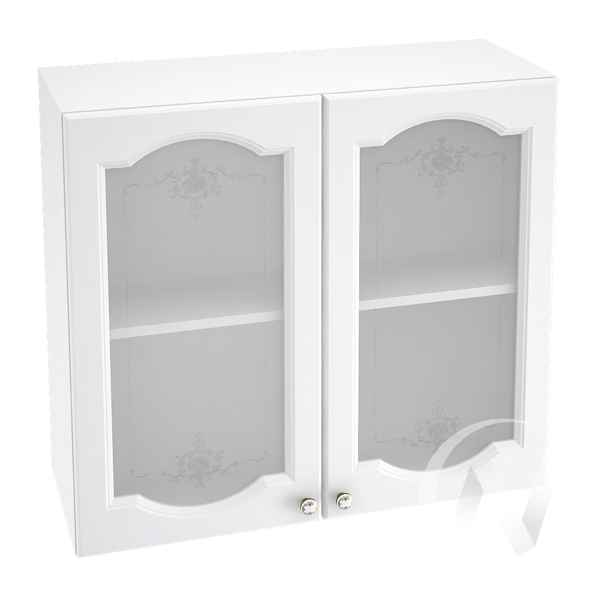 """Кухня """"Шарлиз"""": Шкаф верхний со стеклом 800, ШВС 800 новый (корпус белый)"""