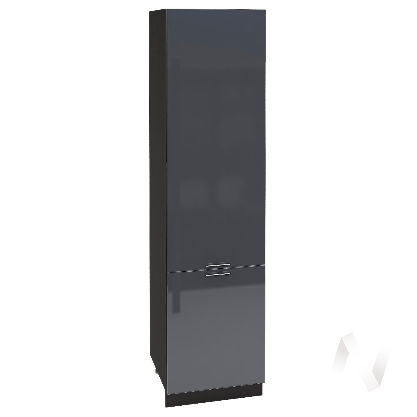 """Кухня """"Валерия-М"""": Шкаф пенал 600, ШП 600 НМ (Антрацит глянец/корпус венге)"""