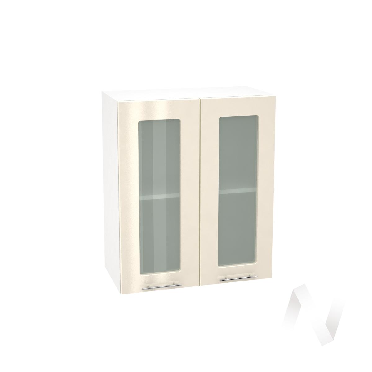 """Кухня """"Валерия-М"""": Шкаф верхний со стеклом 600, ШВС 600 новый (Ваниль глянец/корпус белый)"""