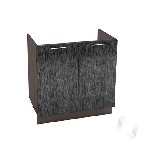 """Кухня """"Валерия-М"""": Шкаф нижний под мойку 800, ШНМ 800 новый (дождь черный/корпус венге)"""