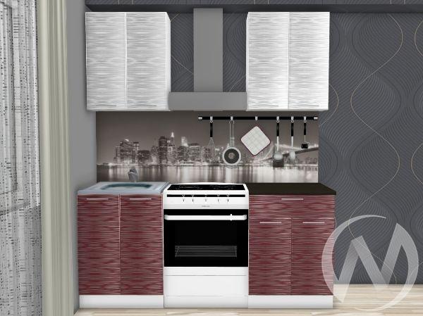 """Кухня """"Валерия-М"""": Страйп белый/Страйп красный 1.2м (корпус белый)"""