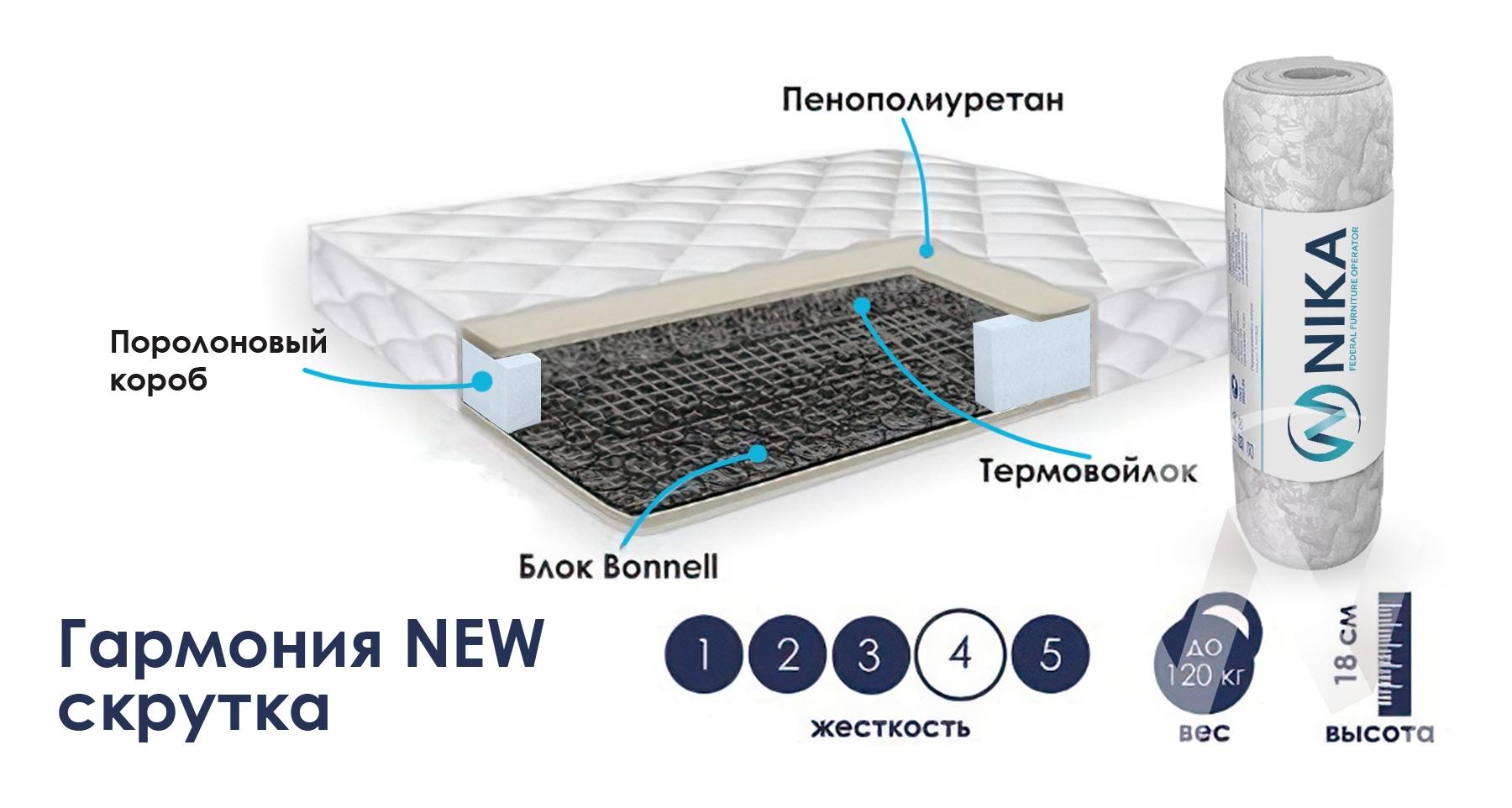 Матрас Гармония NEW (1600х1950) скрутка недорого в Томске — интернет-магазин авторской мебели Экостиль