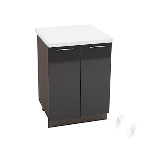 """Кухня """"Валерия-М"""": Шкаф нижний 600, ШН 600 новый (черный металлик/корпус венге)"""