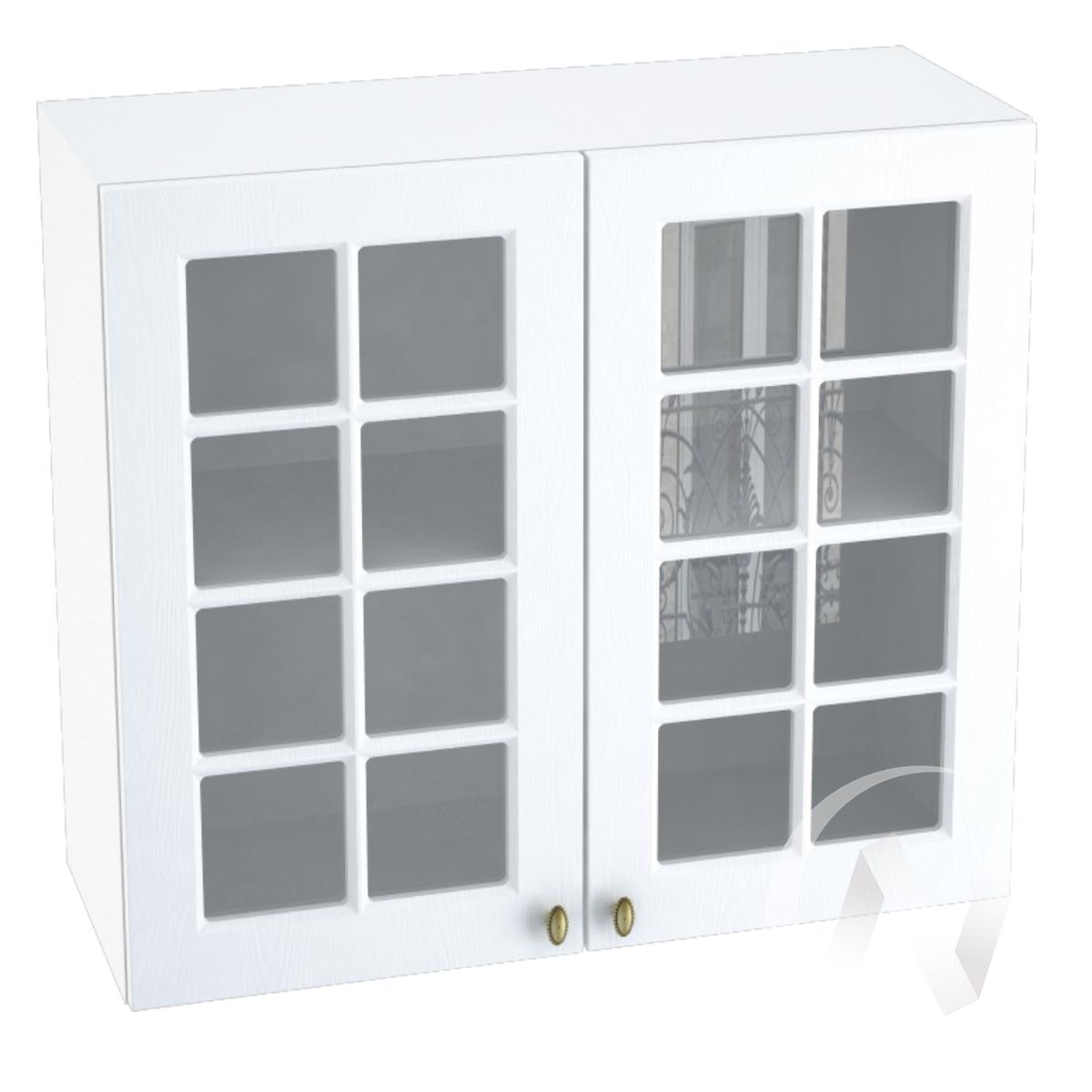 """Кухня """"Прованс"""": Шкаф верхний со стеклом 800, ШВС 800 новый (белое дерево/корпус белый)"""