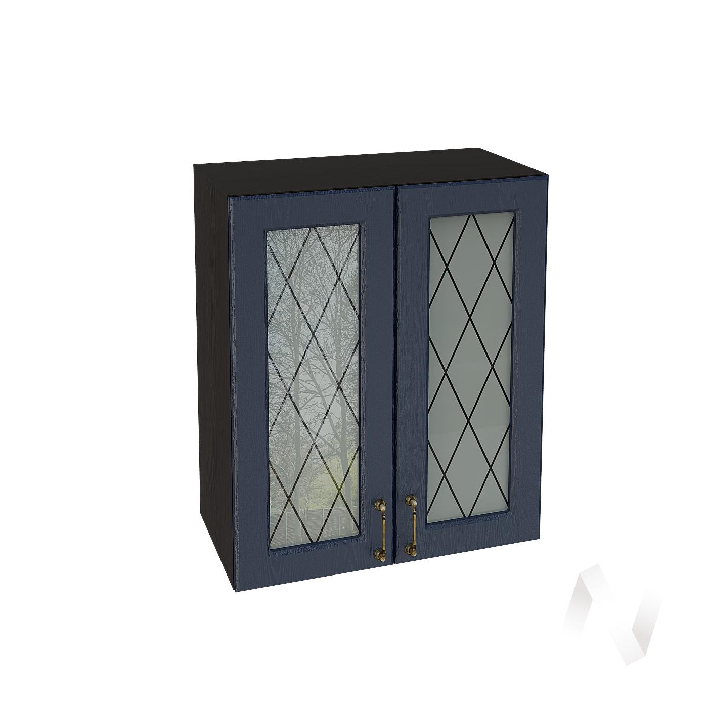 """Кухня """"Ницца"""": Шкаф верхний со стеклом 600, ШВС 600 новый (Дуб чернильный/корпус венге)"""