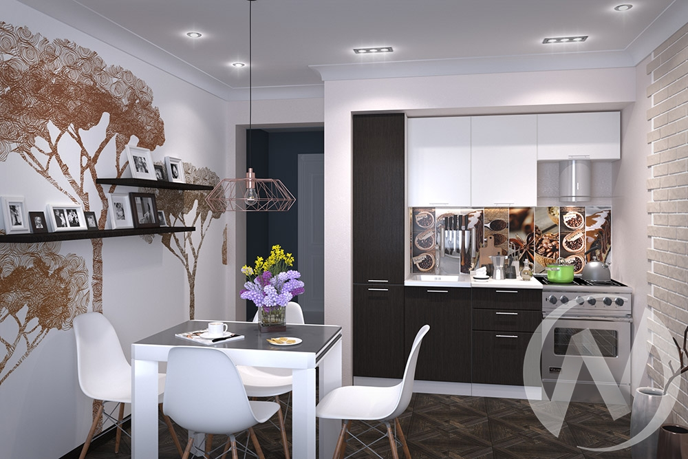 "Кухня ""Валерия-М"": белый глянец/венге (корпус белый)"