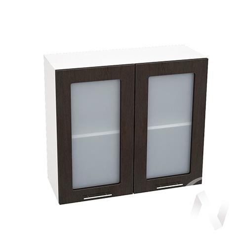"""Кухня """"Валерия-М"""": Шкаф верхний со стеклом 800, ШВС 800 новый (венге/корпус белый)"""