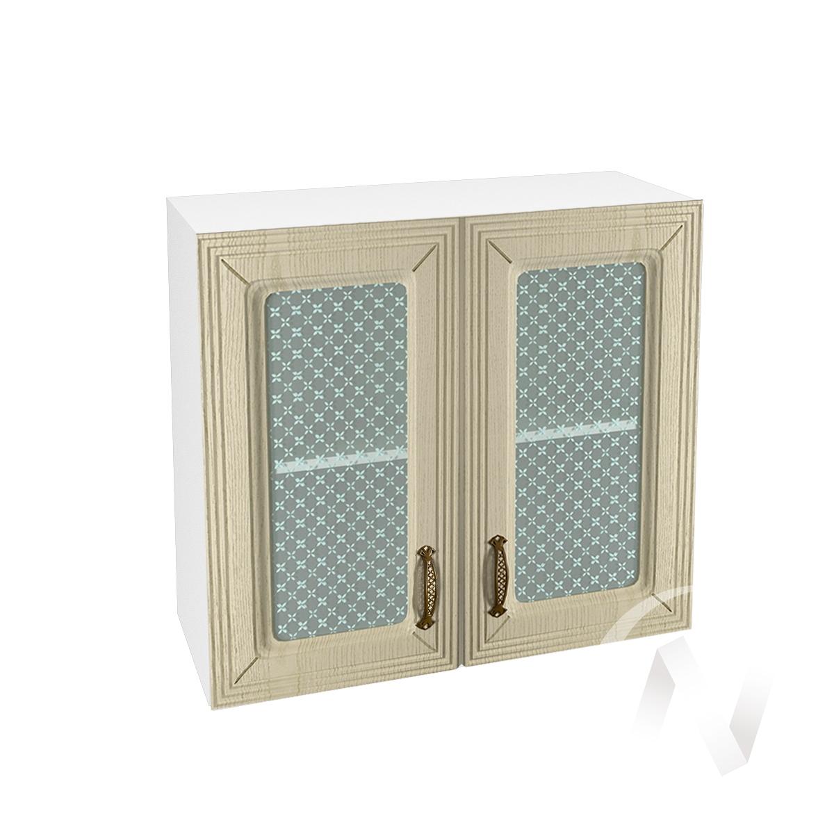"""Кухня """"Изабель"""": Шкаф верхний со стеклом 800, ШВС 800 новый (корпус белый)"""