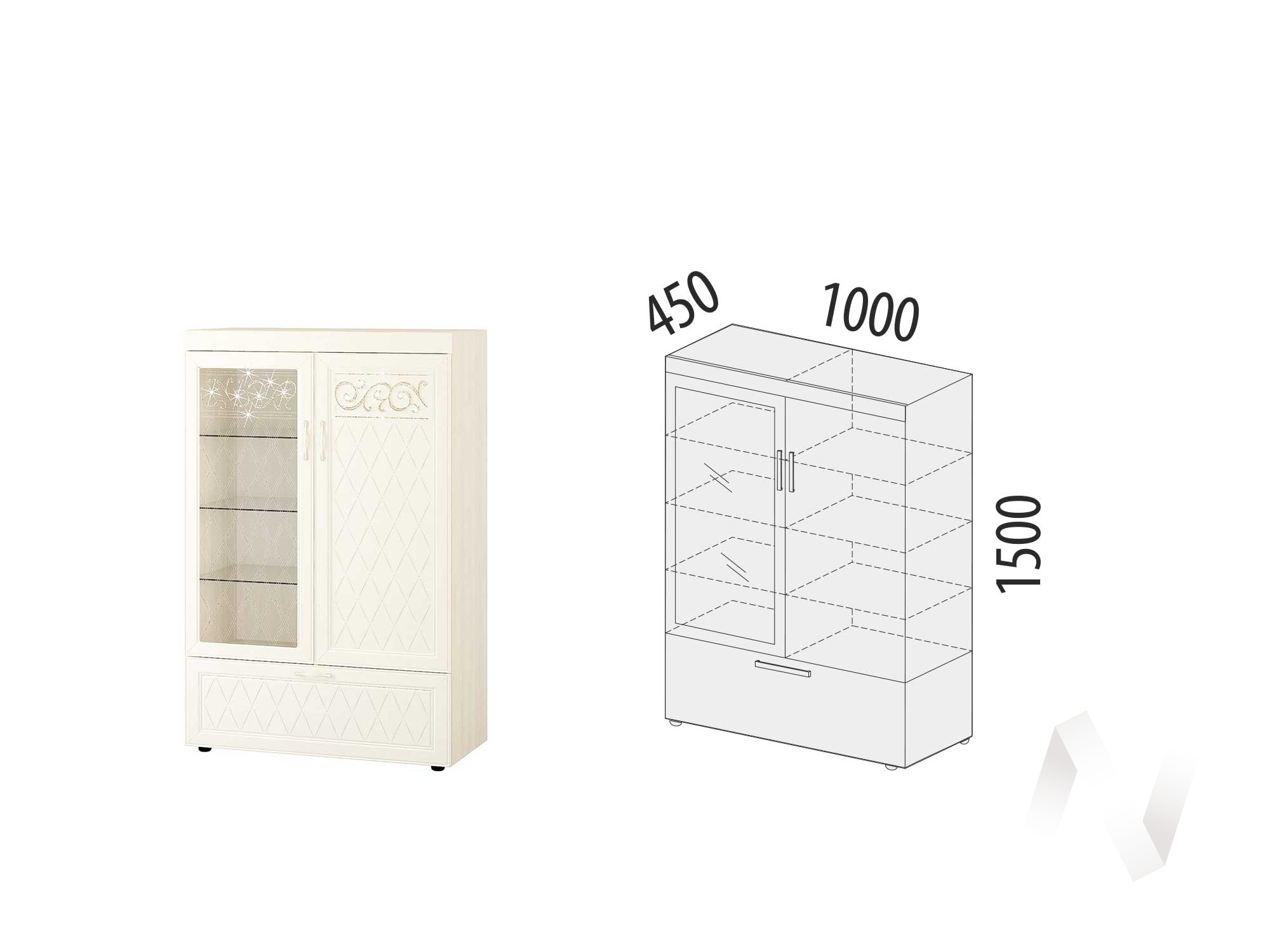 "Шкаф-витрина двухдверный (лев/прав) ""Тиффани"" 600.09"