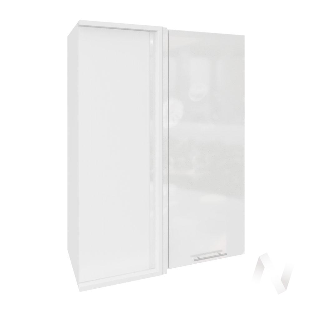 """Кухня """"Валерия-М"""": Шкаф верхний угловой 699, ШВУ 699 (белый металлик/корпус белый)"""