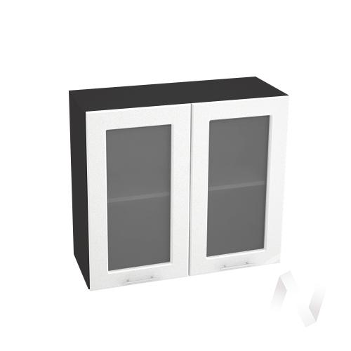 """Кухня """"Вега"""": Шкаф верхний со стеклом 800, ШВС 800 новый (белый металлик/корпус венге)"""
