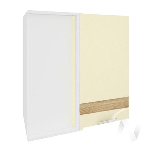 """Кухня """"Терра"""": Шкаф верхний угловой левый 690, ШВУ 690 (ваниль софт/ель карпатская/корпус белый)"""
