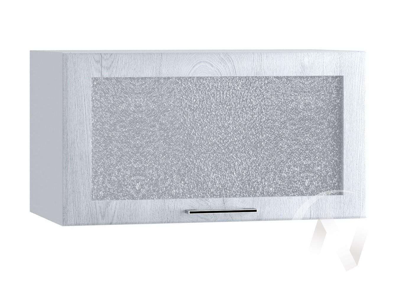 """Кухня """"Палермо"""": Шкаф верхний горизонтальный со стеклом 600, ШВГС 600 (Дуб остин серый/корпус белый)"""