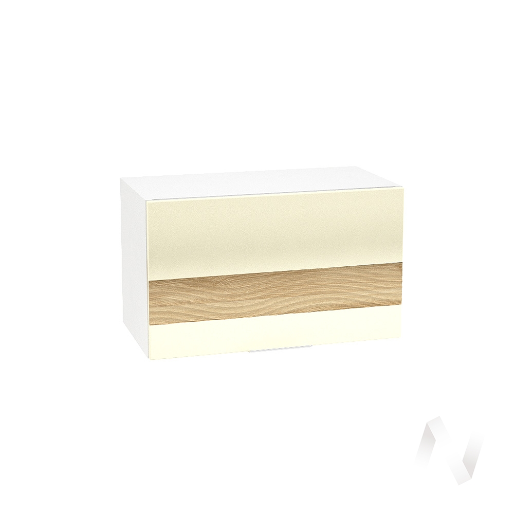 """Кухня """"Терра"""": Шкаф верхний горизонтальный 600, ШВГ 600 (ваниль софт/ель карпатская/корпус белый)"""