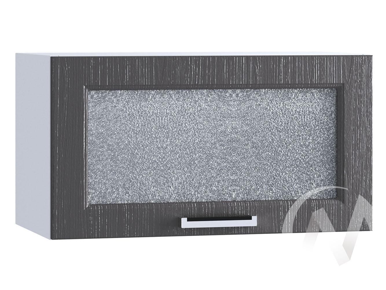 """Кухня """"Луксор"""": Шкаф верхний горизонтальный со стеклом 600, ШВГС 600 (Клен серый/корпус белый)"""