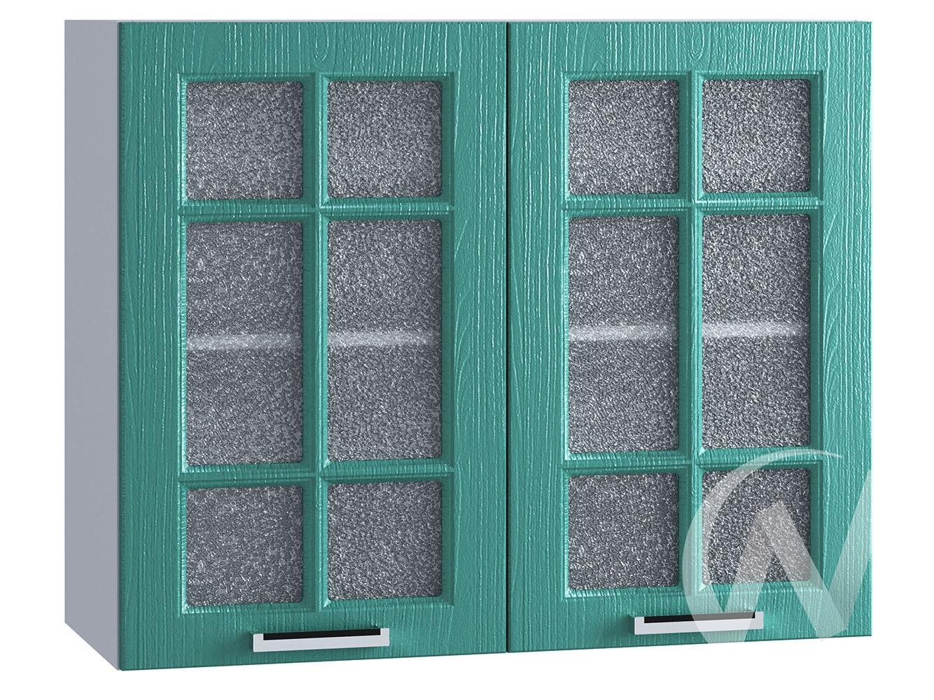 """Кухня """"Луксор"""": Шкаф верхний со стеклом 800, ШВС 800 (Клен бирюза/корпус белый)"""