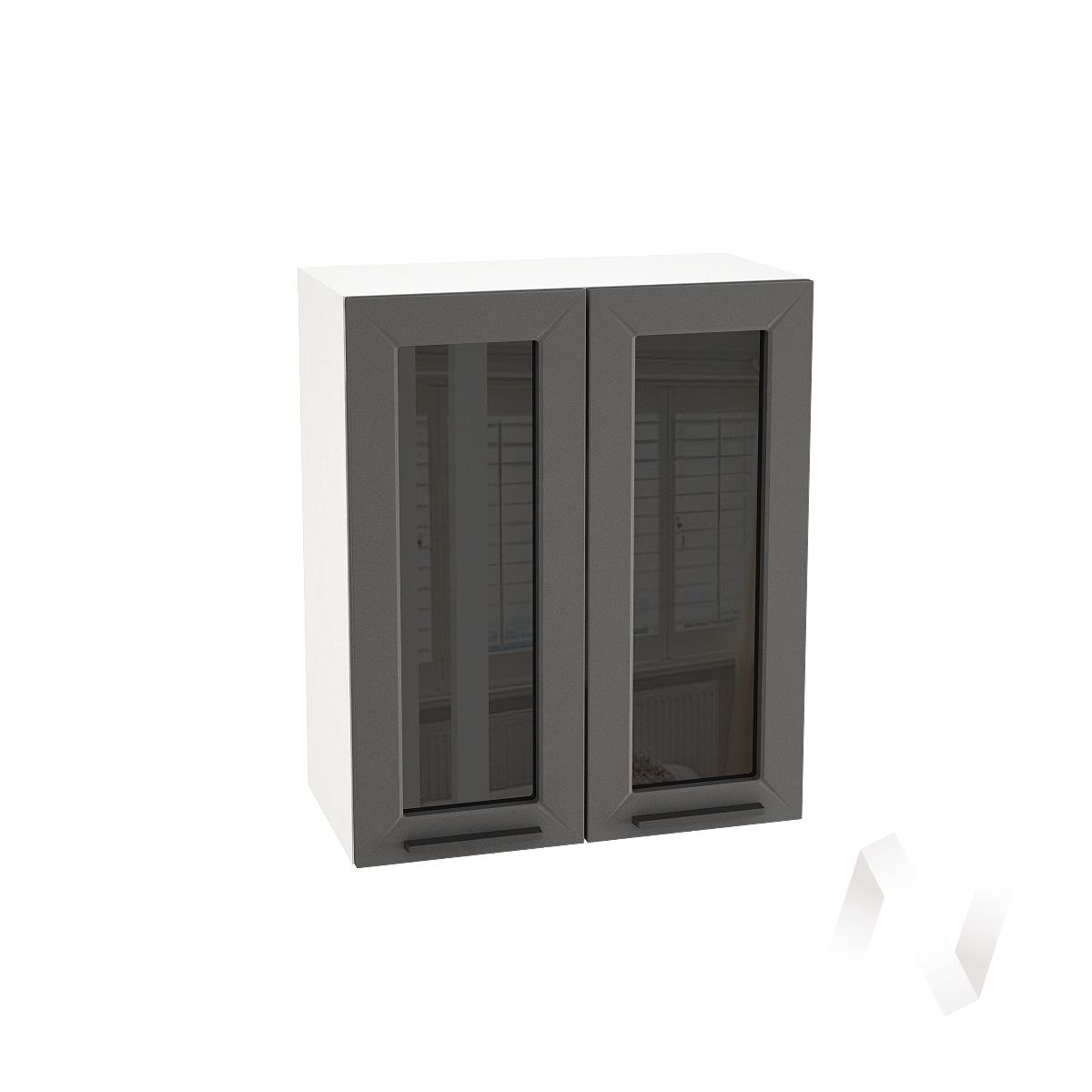 """Кухня """"Глетчер"""": Шкаф верхний со стеклом 600, ШВС 600 новый (Маренго силк/корпус белый)"""