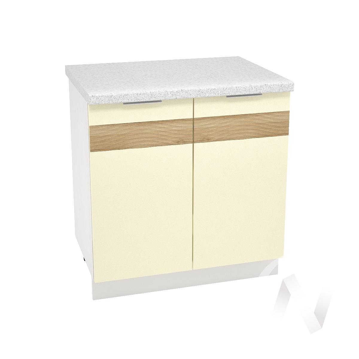 "Кухня ""Терра"": Шкаф нижний 800, ШН 800 (ваниль софт/корпус белый)"