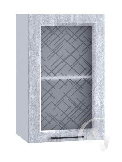 """Кухня """"Либерти"""": Шкаф верхний со стеклом 400, ШВС 400 (Холст натуральный/корпус белый)"""