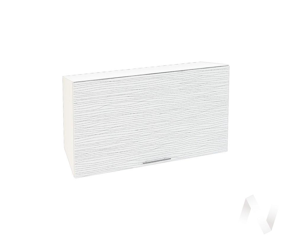 """Кухня """"Валерия-М"""": Шкаф верхний горизонтальный 809, ШВГ 809 (Страйп белый/корпус белый)"""