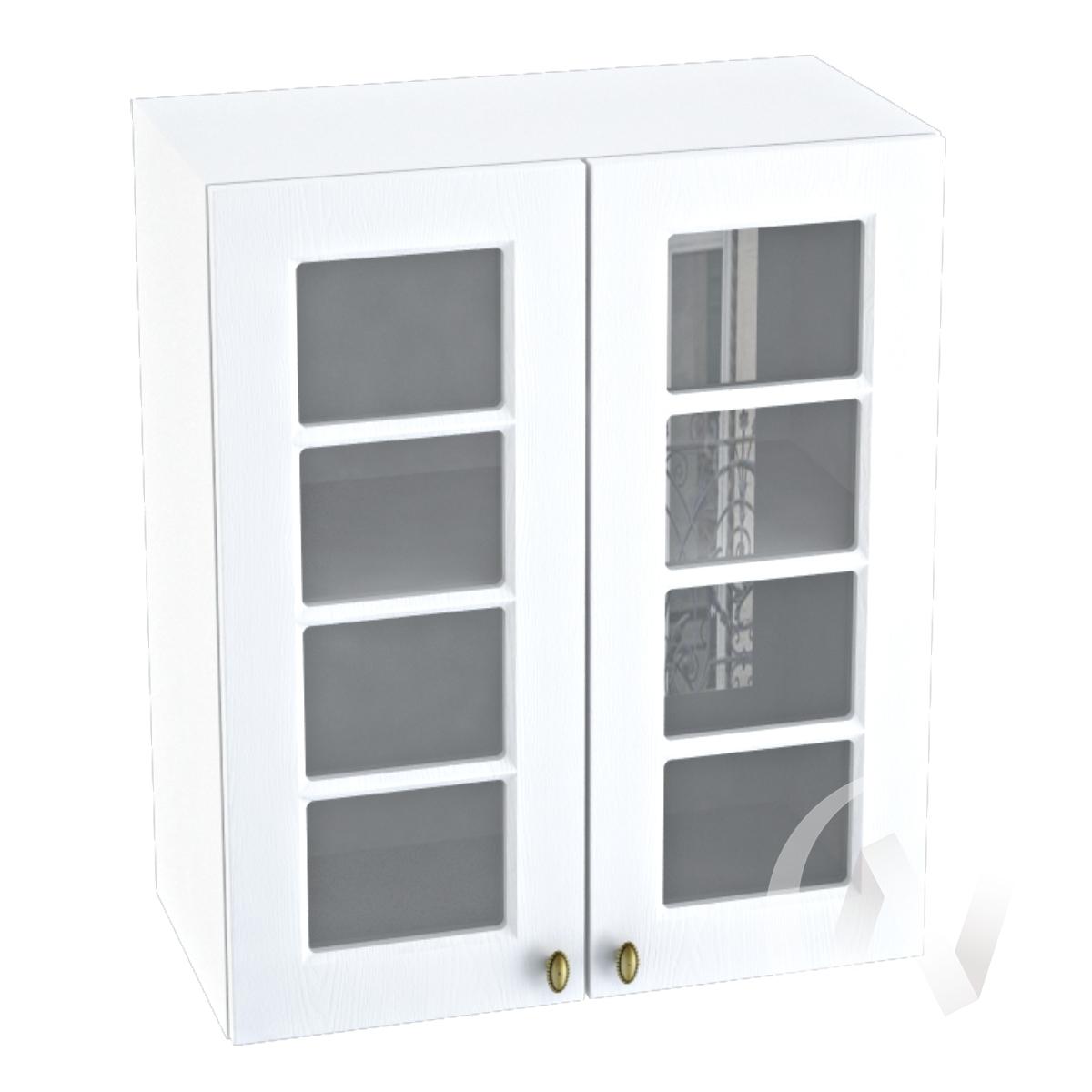 """Кухня """"Прованс"""": Шкаф верхний со стеклом 600, ШВС 600 новый (белое дерево/корпус белый)"""